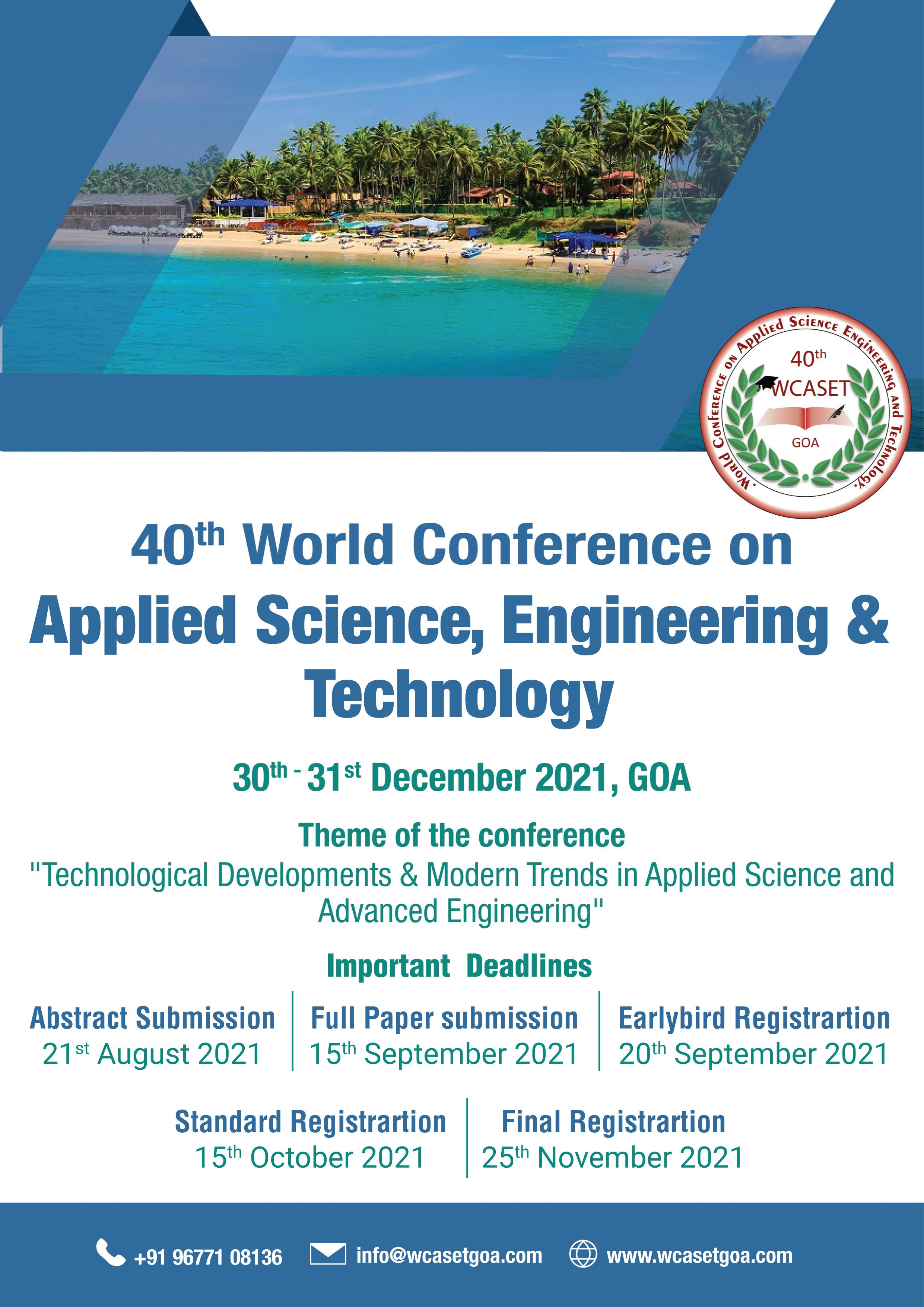 40th World Conference on Applied Science, Engineering & Technology