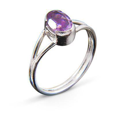.925 Sterling Silver - Amethyst Silver Ring