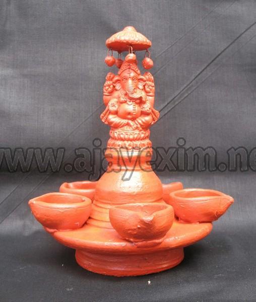 Clay Ganesha Oil Lamp