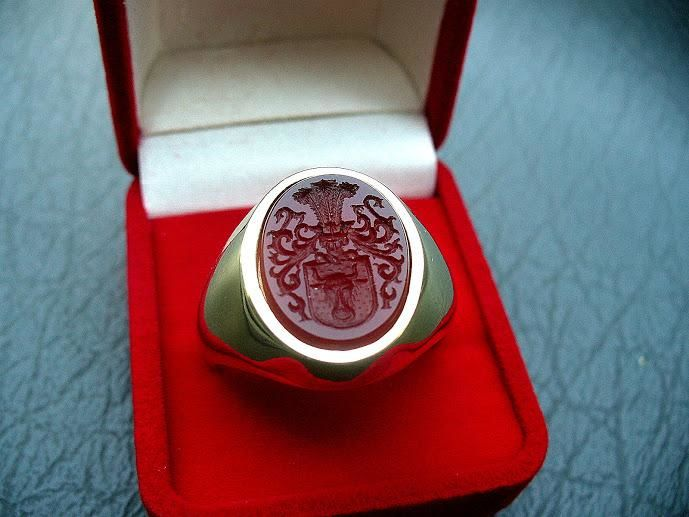 Custom man Family CREST ring wax seal gold Rings Coat of arms