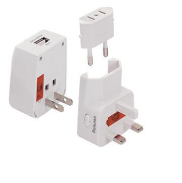 Jackson PTA878USB Travel Adaptor with 1x USB Charging Port and Surge Protection. Converts USA, UK, Japanese Plugs to NZ & Aus