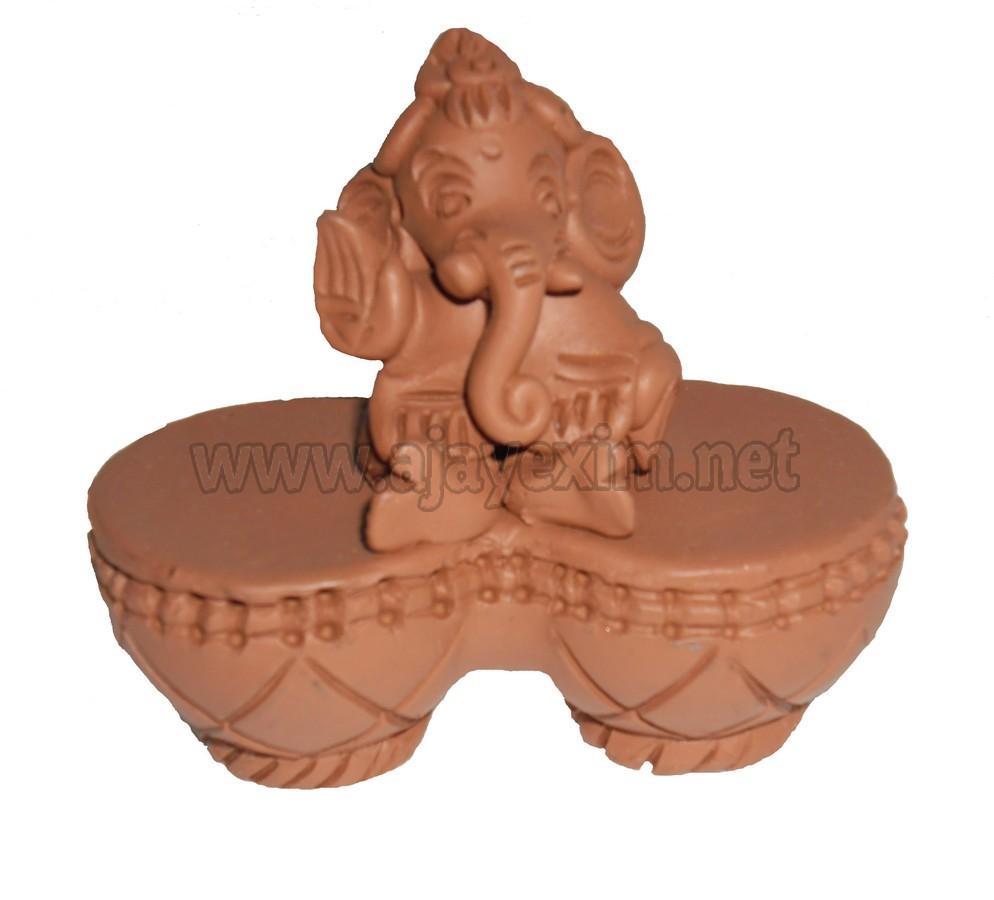 Modern Two Tabala Ganesha Statue