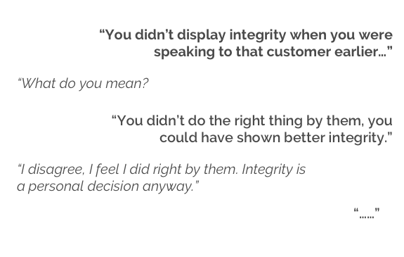 showing integrity conversation