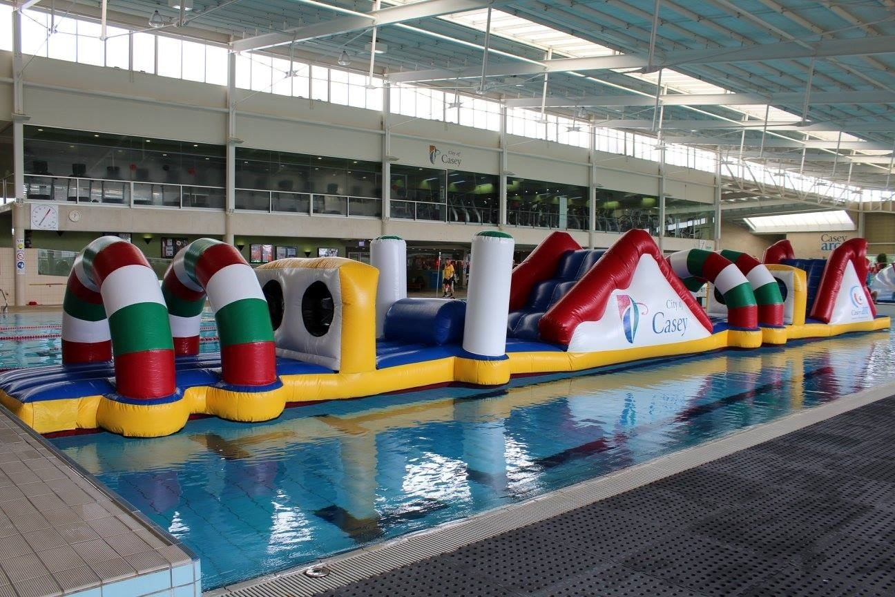 Inflatable obstacle course at Casey ARC