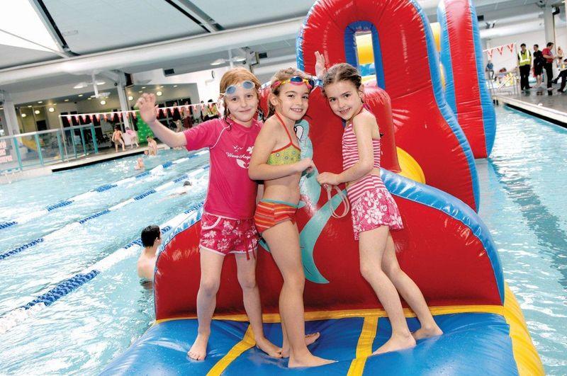 Kids on inflatable