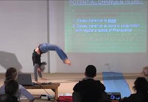 Simon Borg-Olivier doing Viparita Cakrasana (backward flipover) with antara kumbhaka (inhalation retention)