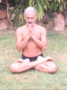 Active spinal traction (sitting with the sitting bones anchored down and the trunk and spine lengthening, plus hip flexion, external rotation and knee flexion (cross-legged or lotus posture), by Simon Borg-Olivier