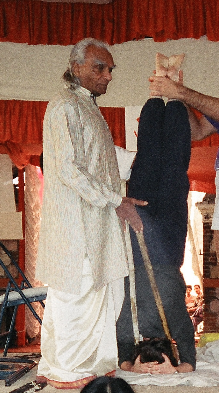 Sri BKS Iyengar, Adjusting Headstand on stage at our Rishikesh Intensive 1993