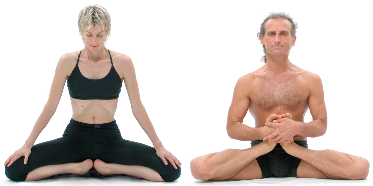 Figure 1a & 1b: (a) Bianca Machliss in mulabandhasana (downward ankle-twist pose): and (b) Simon Borg-Olivier in kandasana (upward ankle-twist pose): Both of us have had injuries in knee ligaments and cartilage (menisci) but an active approach to yoga with a sound basis in applied anatomy and physiology allows us to now practice postures that would be quite stressful for most people's knees.