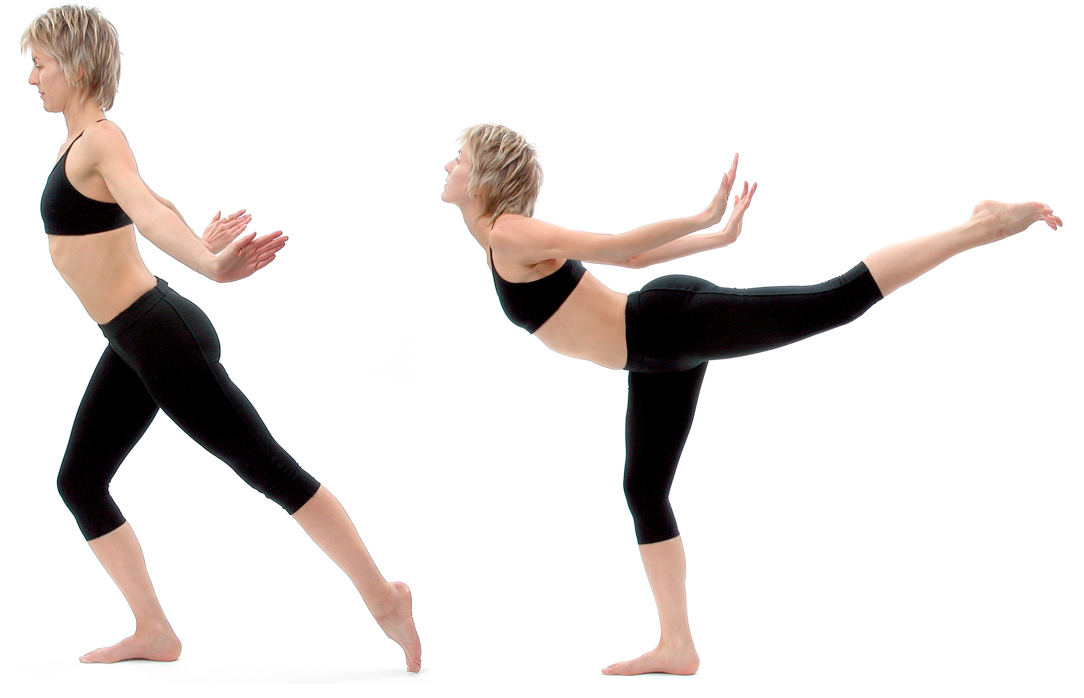 Figure 11: Niralamba virabhadrasana (unsupported warrior pose): Stand on one leg, take the other leg behind you and lift it slightly of the floor that knee fully straight. Turn the thigh of the non-standing leg inwards at the hip. This forces the main buttocks muscle, gluteus maximus (a hip external rotator and hip extensor), to relax. If the front thigh muscles (quadriceps) of the non-standing knee are active they will force the rear thigh muscles (hamstrings) to become activated. This exercise is therefore very effective in forming janu bandha, as it causes a simultaneous tensing of front thigh muscles (quadriceps), rear thigh muscles (hamstrings) and inner thigh muscles (hip adductors).