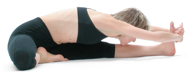 Figure 5: Janu sirsasana (knee head pose): In poses such as janu sirsasana (knee head pose) it is important for the knee to move actively into the pose and that the muscles around the knee are the main force directing the knee to its final position in the pose. If there is knee pain in bent (flexed) knee postures such as this one then it is best to modify the pose by straightening the bent leg if possible.