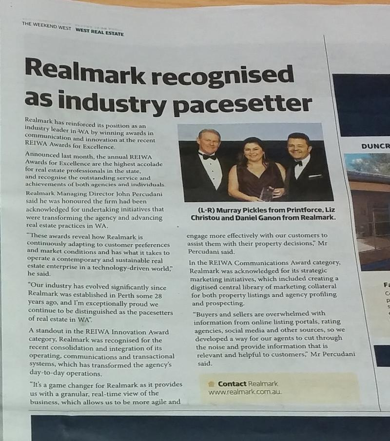Realmark win at the 2017 REIWA awards