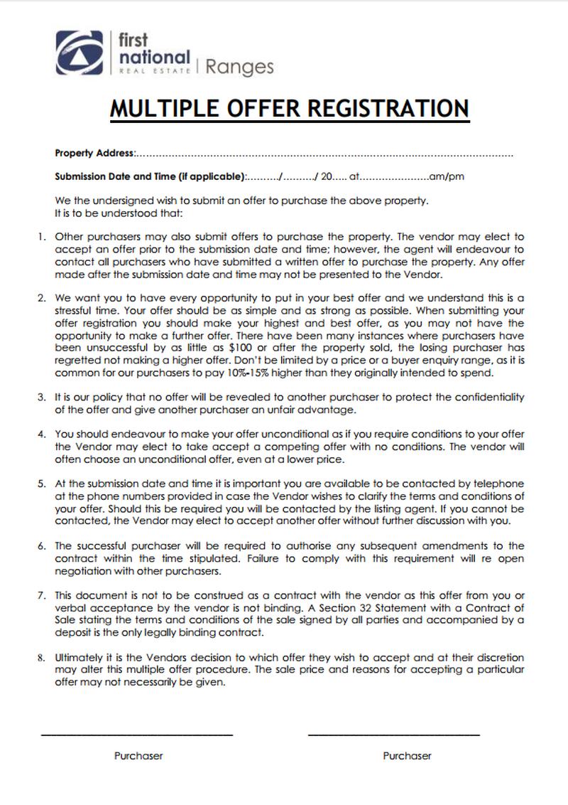 Multiple Offer Registration Form