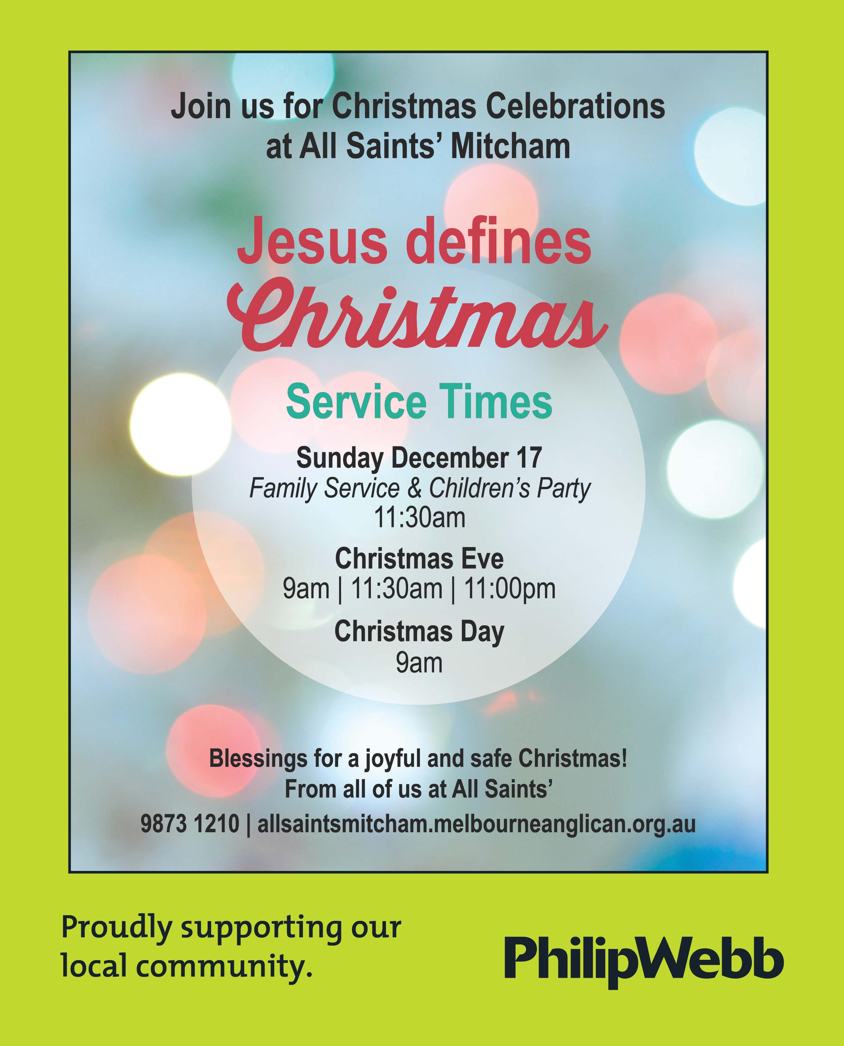 Christmas Celebrations at All Saints' Mitcham