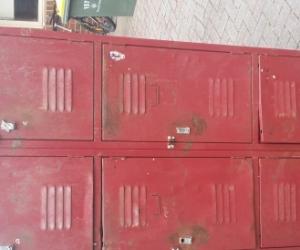 Red antique lockers