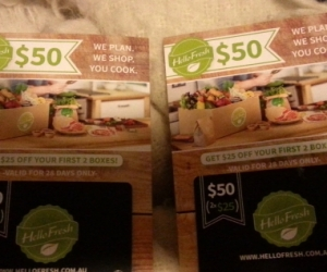 2 individual Hello Fresh cards, with each card giving the user $25 off their first 2x $25 boxes