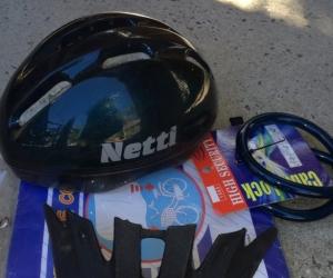Bicycle helmet and bike accessories.