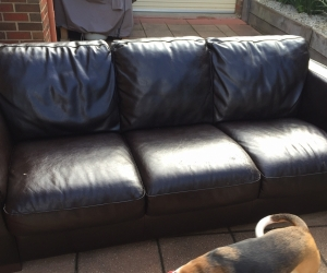 3 seater leather couch, free to good home (Berwick, VIC)