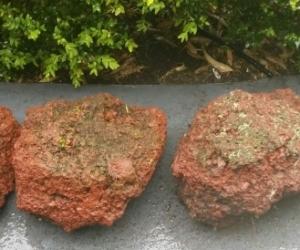 Red lava wall rocks