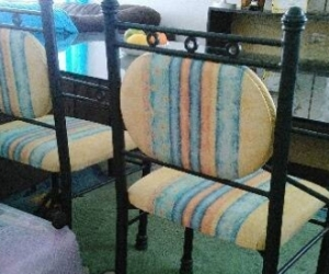 WROUGHT IRON GLASS TOP DINING TABLE/CHAIRS**AVAILABLE TILL 27/11*