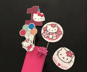 HANDMADE hello kitty  birthday decorations - used once