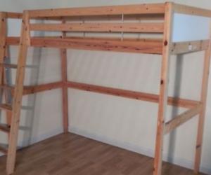 single timber loft bed (Ikea)