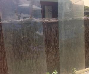 2 plate glass panels 195cm x 75cm (approx)