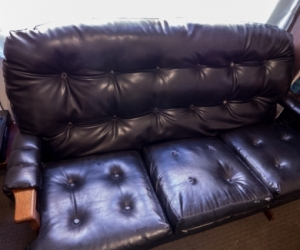 Couch - 3 Seater Black Vinyl Couch
