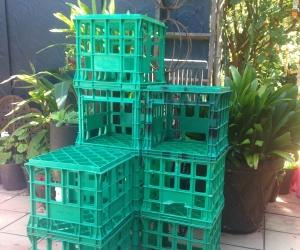 6 green MILK CRATES - Kooyong