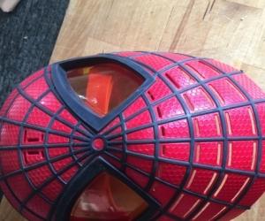 Kids talking Spider-Man mask
