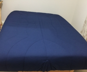 Blue 3-Seater, Double Sofa-Bed with under storage base
