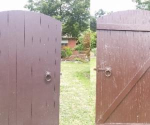 Solid wooden garden gate