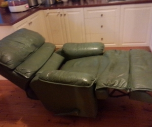 Green leather lazyboy armchair