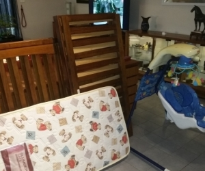 Large wooden cot and cradle swing