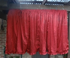 Red Satin Lined Gathered Balloon Curtains