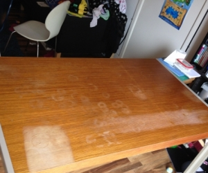 6 Seater Table - wooden top. Used condition.