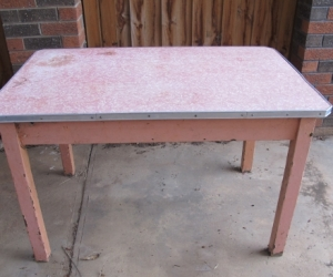 Wooden table with formica top