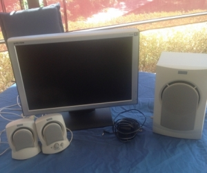 Computer monitor +speakers and powered subwoofer