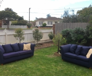 Blue fabric 3 seater & 2 seater couches