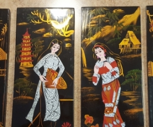 4 Vietnamese Lacquerware pictures - Langwarrin