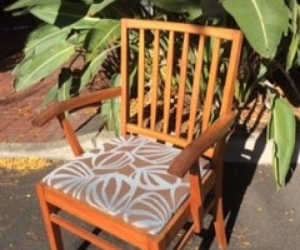 8 x Wooden, upholstered dining /occasional chairs