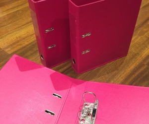 3 Magenta arch lever folders