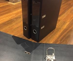 3 x black arch lever folders