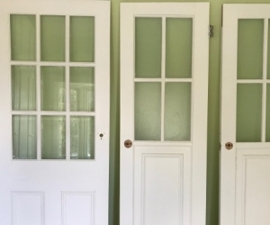 Second-hand painted timber single 'window' and french doors