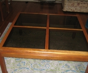 Glass top Coffee table 100cm square -  H 45cm