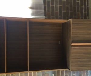 Brown laminated bookshelf