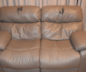 2 x 2 seater recliner couches, 'pleather'