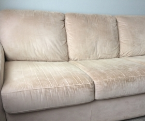 Plush 3-Seater Sofa Bed Beige