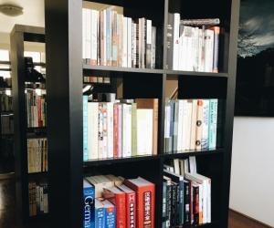 IKEA dark wood KALLAX shelves in good condition