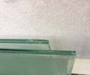 Sheets of heavy glass, laminated